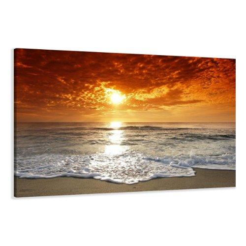 Visario Leinwandbilder 5038 Bild auf Leinwand Strand, 120 x 80 cm