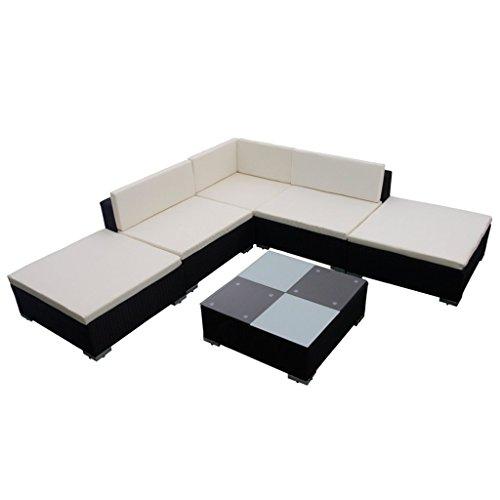vidaXL 15-tlg. Poly Rattan Sitzgruppe Gartenmöbel Lounge Set Sitzgarnitur Sofa