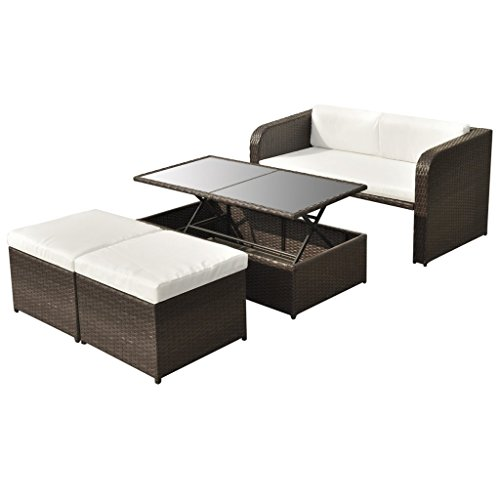 vidaXL 9-tlg. Gartenmöbel Lounge Set Sofa Sitzgruppe Garnitur Poly Rattan Braun/Schwarz