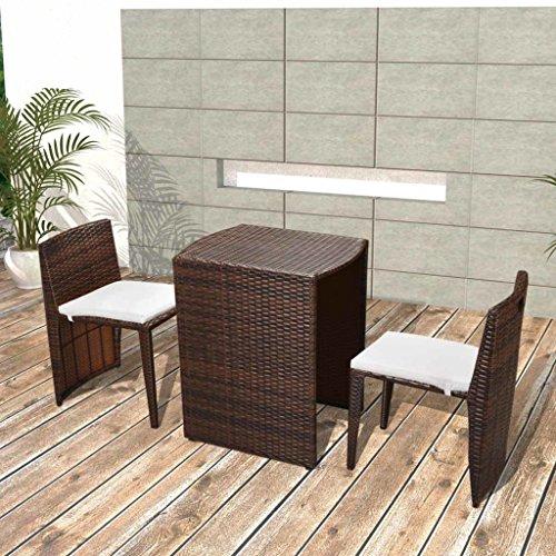 vidaXL Balkongruppe Gartenmöbel-Set Tisch + 2 x Stuhl Poly Rattan Braun/Schwarz