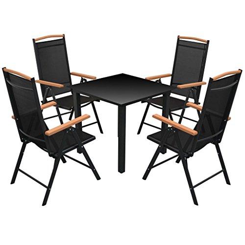 vidaXL Essgruppe Alu Schwarz 5-tlg. Sitzgruppe Gartenmöbel Gartenset Lounge