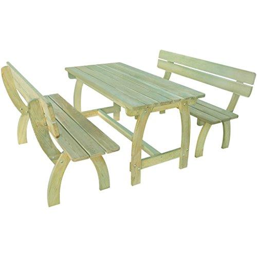vidaXL Holz Gartenset Gartenmöbel Essgruppe Sitzgruppe Tisch Bank Kiefernholz