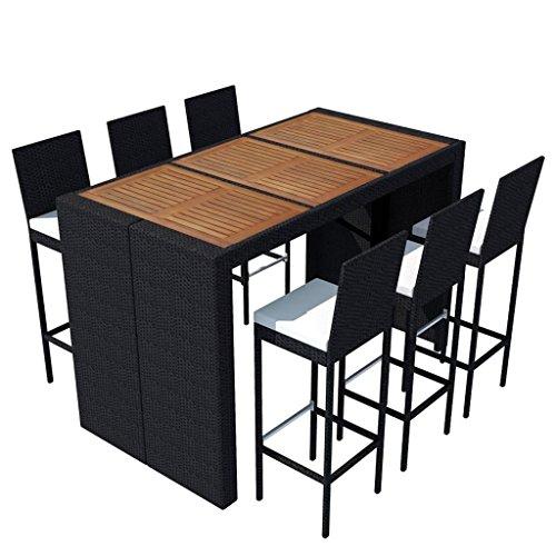 vidaXL Poly Rattan Gartenbar Set 13-tlg. Akazienholz Tischplatte Gartenmöbel