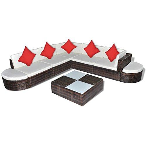 vidaXL Poly Rattan Gartenmöbel 27-tlg. Lounge Sitzgruppe Gartenset Sitzgarnitur