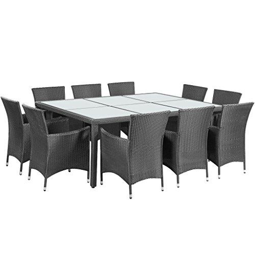 vidaXL Poly Rattan Gartenmöbel Set Sitzgruppe Essgruppe Sitzgarnitur 10+1 braun/Schwarz