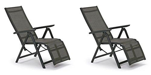 2 Kettler SYLT Relaxliegen in anthrazit bronze Relax Relaxsessel