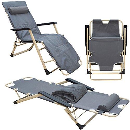 AMANKA Liegestuhl 178x65cm Garten-Liege 150kg Klappliege verstellbar Campingliege Sonnenliege m. Auflage Kopfkissen Grau