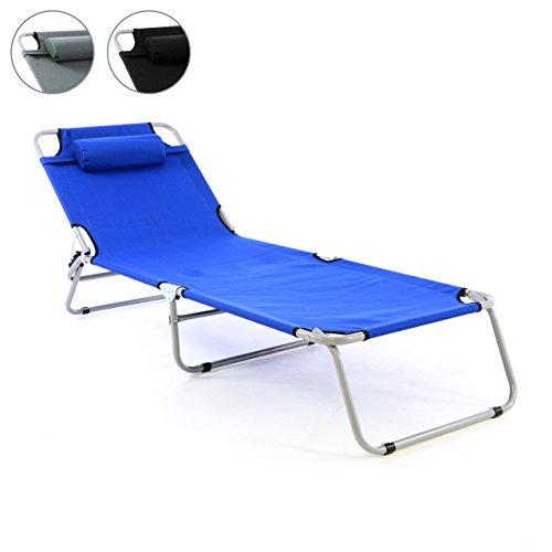 Gartenliege Camping Liege schwarz 190x63x28 cm mit Kopfkissen Sonnenliege klappbar 4fach verstellbar Stahlrohrrahmen Dreibeinliege wetterfest robust stabil grau schwarz blau Farbe wählbar