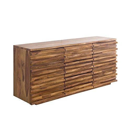 Massives Sideboard RELIEF 160cm Sheesham Holz stone finish Kommode Anrichte Schrank