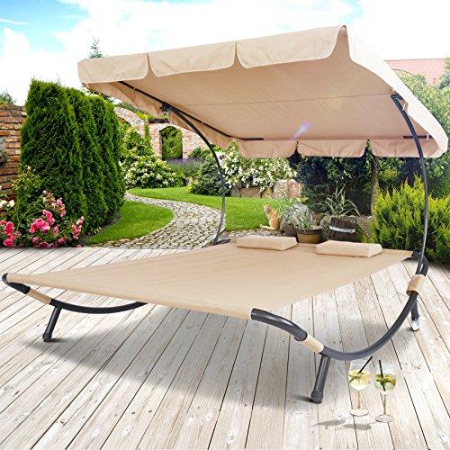 Miadomodo Doppelliege Sonnenliege mit Dach Gartenliege mit Sonnendach ca. 200 x 173 x 148cm in 3 verschiedenen Farben