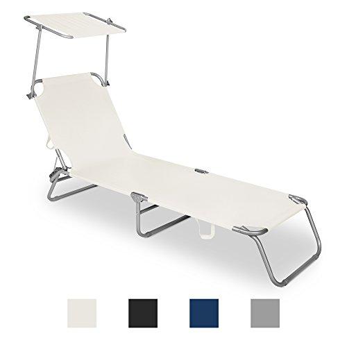 Multifunktion Garten- und Freizeitliege mit klappbarem Sonnendach und verstellbarer Rückenlehne in 4 Farben
