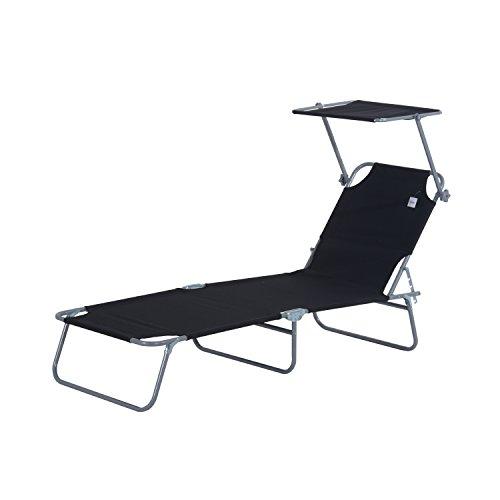 Outsunny Sonnenliege Gartenliege Wellnessliege Strandliege klappbar mit Sonnenschutz