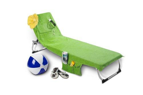 Strandtasche oder Strandtuch Beachbag ! Das Original ! Kiwi Gartenliege Strandliege Liegenbezug mit Taschen und Nackenöffnung für Nackenrolle