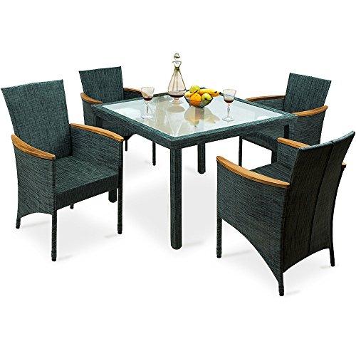 4 1 sitzgarnitur gartengarnitur 4 st hle 1 glastisch armlehnen aus akazienholz. Black Bedroom Furniture Sets. Home Design Ideas