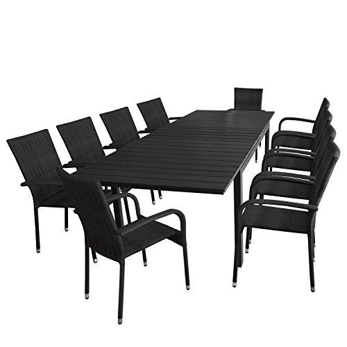 Multistore 2002 11tlg. Gartengarnitur Ausziehtisch, Aluminiumrahmen, Polywood-Tischplatte schwarz, 200/250/300x95cm + 10x Rattanstuhl, stapelbar, Polyrattanbespannung
