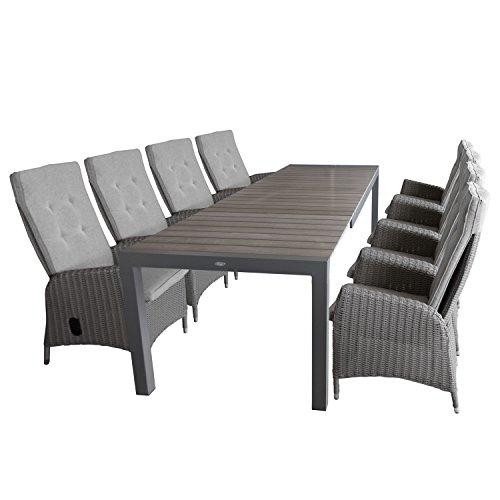 9tlg gartengarnitur ausziehtisch polywood tischplatte grau aluminiumrahmen grau 205. Black Bedroom Furniture Sets. Home Design Ideas