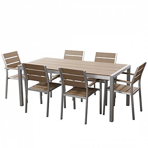 Beliani Gartenmöbel Set Aluminium Polywood braun 6-Sitzer VERNIO