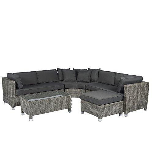 Loungeset garten lounge poly rattan gartenset grau for Polyrattan lounge set grau