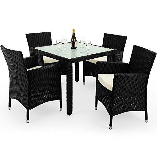 poly rattan 4 1 sitzgruppe schwarz 4 st hle tisch. Black Bedroom Furniture Sets. Home Design Ideas