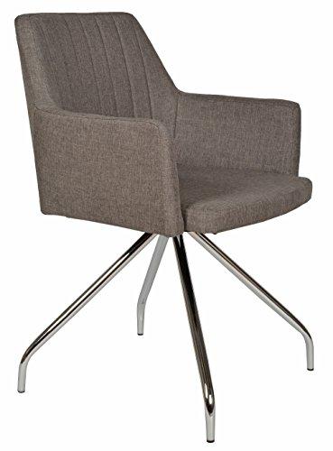 ts-ideen Lounge Design Sessel Barsessel Clubsessel Metall Stoff in Grau Esstisch-Stuhl