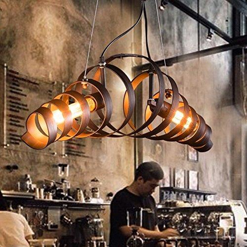 KJLARS Vintage Pendelleuchte Kronleuchter Retro Industrielle Pendelleuchte Metall Hängeleuchte Bar Cafe Deckenleuchte 2x E27 Brine