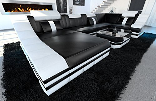 leder wohnlandschaft turino u form schwarz weiss m bel24. Black Bedroom Furniture Sets. Home Design Ideas