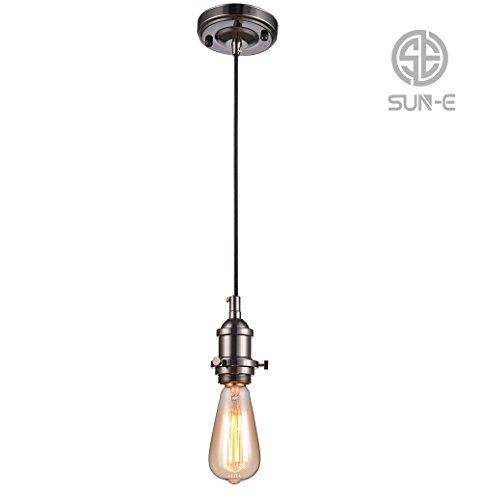 SUN-E Vintage Pendelleuchte - Retro Antike Stil Hängelampe Anhänger - E27 Lampenfassung - 3-adriges Textilkabel(ohne Birne) (Schwarz)