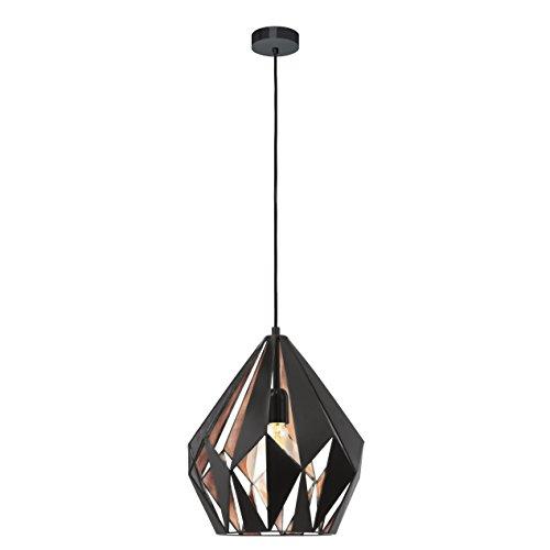 eglo 49254 h ngeleuchte carlton 1 e27 stahl schwarz kupfer m bel24. Black Bedroom Furniture Sets. Home Design Ideas