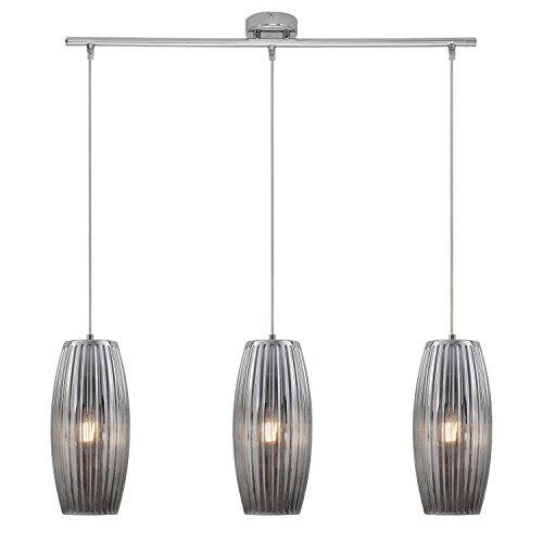 Briloner Leuchten - LED Hängelampe, 3-flammige Hängeleuchte, rauch-chrom, oval, Retro/Vintage Design, Glas-Metall, 3xE27, 70 x 120 cm