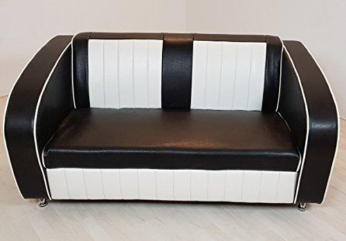 Dreams4Home Sofabank 'Belvue' - Essbank, Sitzbank, Polsterbank, Küchenbank, Bank, Sitzmaße: H/T/B: 40 x 54 x 120 cm, Gesamthöhe: 72 cm ,modern, im Diner Stil, in rot / weiß, schwarz / weiß, blau / weiß, Küche, Esszimmer