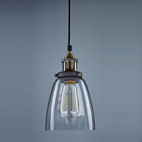 EMOTREE 1x Glas Schirm Hängelampe Pendelleuchten Retro Antik U-Form Nostalgia Lampe Leuchte für E27 Glühbirne