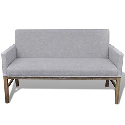 Festnight Sofa Sitzbank Loungebank Polsterbank Sitzmöbel Stoffbezug Holzrahmen mit Rückenlehne Hellgrau