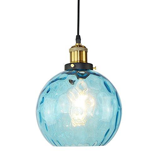 HJXDtech® Blaue Blase Glas Pendelleuchte Hängeleuchte Industrielle Retro Hängeleuchte Beleuchtung Skörper in Antik Messing Lampenfassung