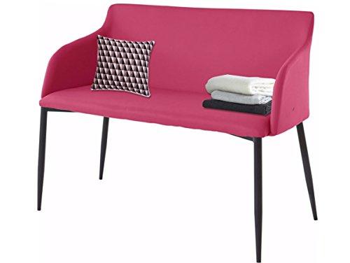 Loft24 Bank aus PU Leder 106 cm Beine in schwarz in schwarz, cappuccino, grau oder pink zur Auswahl