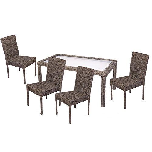 Luxus Poly-Rattan Garten-Garnitur Esszimmer-Set RomV,4 Stapelstühle+Tisch ~ naturgrau, rundes Rattan