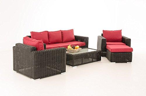 Mendler 3-1-1 Gartengarnitur CP053 Sitzgruppe Lounge-Garnitur Poly-Rattan ~ Kissen Rubinrot, Schwarz
