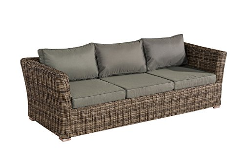 Mendler 3er Sofa 3-Sitzer Sousse Poly-Rattan ~ Grau-Meliert mit Kissen in eisengrau