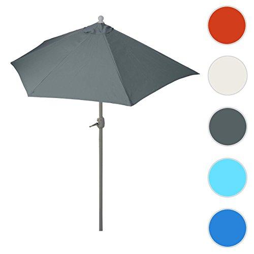 Mendler Alu-Sonnenschirm halbrund Parla, Halbschirm Balkonschirm, UV 50+ ~ 300cm Anthrazit Ohne Ständer