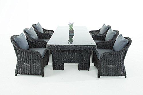 Mendler Garten-Garnitur CP065, Sitzgruppe Lounge-Garnitur, Poly-Rattan ~ Kissen eisengrau, Schwarz