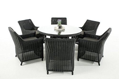 Mendler Garten-Garnitur CP069, Sitzgruppe Lounge-Garnitur, Poly-Rattan ~ Kissen Anthrazit, Schwarz