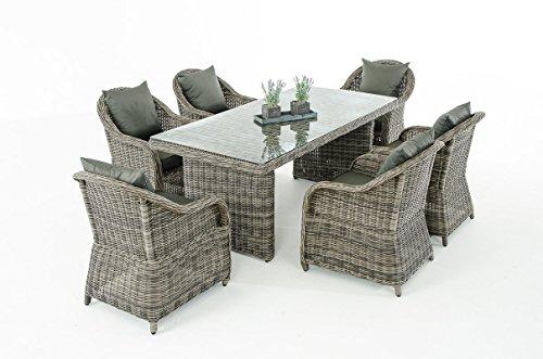 Mendler Garten-Garnitur CP071, Sitzgruppe Lounge-Garnitur Poly-Rattan ~ Kissen Anthrazit, Grau-Meliert