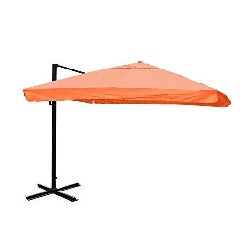 Mendler Gastronomie-Luxus-Ampelschirm Sonnenschirm N22, Alu 4,3 m ~ Flap, Terrakotta Ohne Ständer