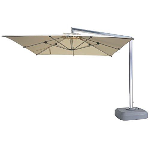 Mendler Luxus-Ampelschirm HWC-A36, Gartenschirm Sonnenschirm mit Ständer, Drehbar rollbar, Alu 3x3m, Creme