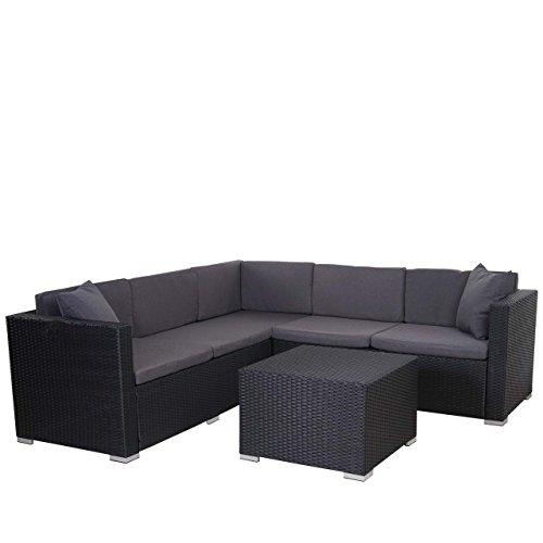 Mendler Poly-Rattan Sofa-Garnitur ROM Basic, Sitzgruppe Lounge-Set, Stahl ~ Anthrazit, Kissen Anthrazit