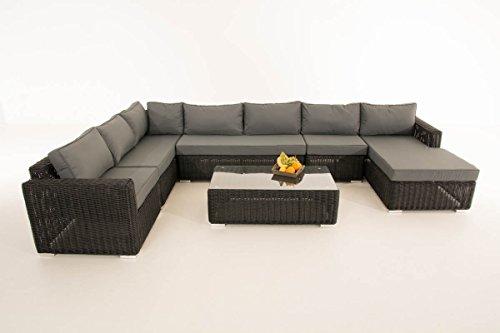 Mendler Sofa-Garnitur CP054, Lounge-Set Gartengarnitur, Poly-Rattan ~ Kissen eisengrau, Schwarz
