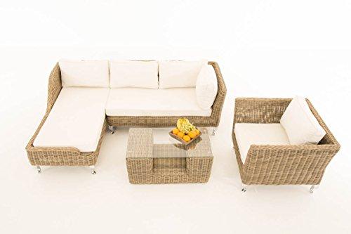Mendler Sofa-Garnitur CP055, Lounge-Set Gartengarnitur, Poly-Rattan ~ Kissen Creme, Natur