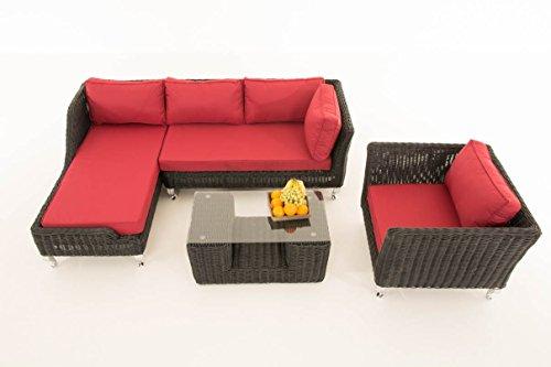 Mendler Sofa-Garnitur CP055, Lounge-Set Gartengarnitur, Poly-Rattan ~ Kissen Rubinrot, Schwarz