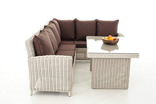 Mendler Sofa-Garnitur CP056, Lounge-Set Gartengarnitur, Poly-Rattan ~ Kissen terrabraun, perlweiß