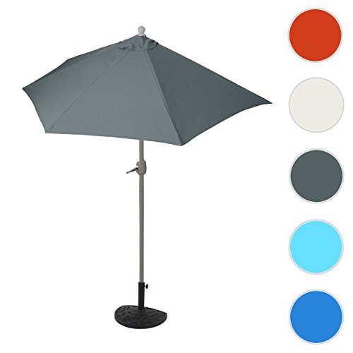 Mendler Sonnenschirm halbrund Parla, Halbschirm Balkonschirm, UV 50+ ~ 270cm Anthrazit mit Ständer