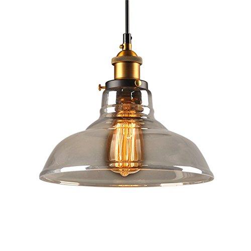 Pendelleuchte Vintage Glas Hängelampe Industrial Hängeleuchte Retro E27 Glas-Lampenschirm Pendelleuchten Einstellbare Hängelinie 1.3M (inkl. Leuchtmittel)